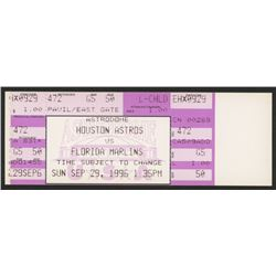 Unused 1996 Astros vs. Marlins Game Ticket