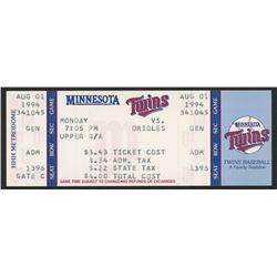 Unused 1994 Twins vs. Orioles Game Ticket