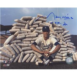 "Maury Wills Signed Dodgers 8x10 Photo Inscribed ""104 S.B. '62"" (AI Verified COA)"