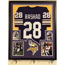 Ahmad Rashad Signed Vikings 34x42 Custom Framed Jersey (JSA COA)