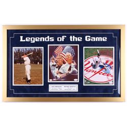 "Joe DiMaggio  Mickey Mantle Signed Yankees 20x32 ""Legends of the Game"" Custom Framed Display (JSA LO"