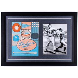 Sandy Koufax and Don Drysdale Dodgers 17x24 Custom Framed Photo Display with 1964 Dodgers Scorecard