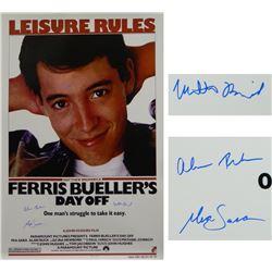 "Matthew Broderick, Mia Sara  Alan Ruck Cast-Signed ""Ferris Bueller's Day Off"" 27x40 Movie Poster (Sc"
