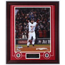 Dustin Pedroia Signed Red Sox 23x27 Custom Framed Photo Display (Steiner Hologram  MLB Hologram)