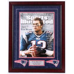 Tom Brady Signed Patriots 23.25x29.25 Custom Framed Photo Display (Steiner COA)
