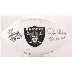 Marcus Allen, Fred Biletnikoff  Jim Plunkett Signed Raiders Logo Football with (3) Super Bowl MVP In