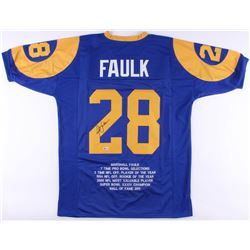 Marshall Faulk Signed Rams Career Highlight Stat Jersey (Beckett COA)