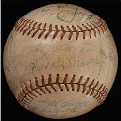 1950's Yankees Hall of Famers  Stars Baseball Team-Signed by (28) with Mickey Mantle, Yogi Berra, Ph