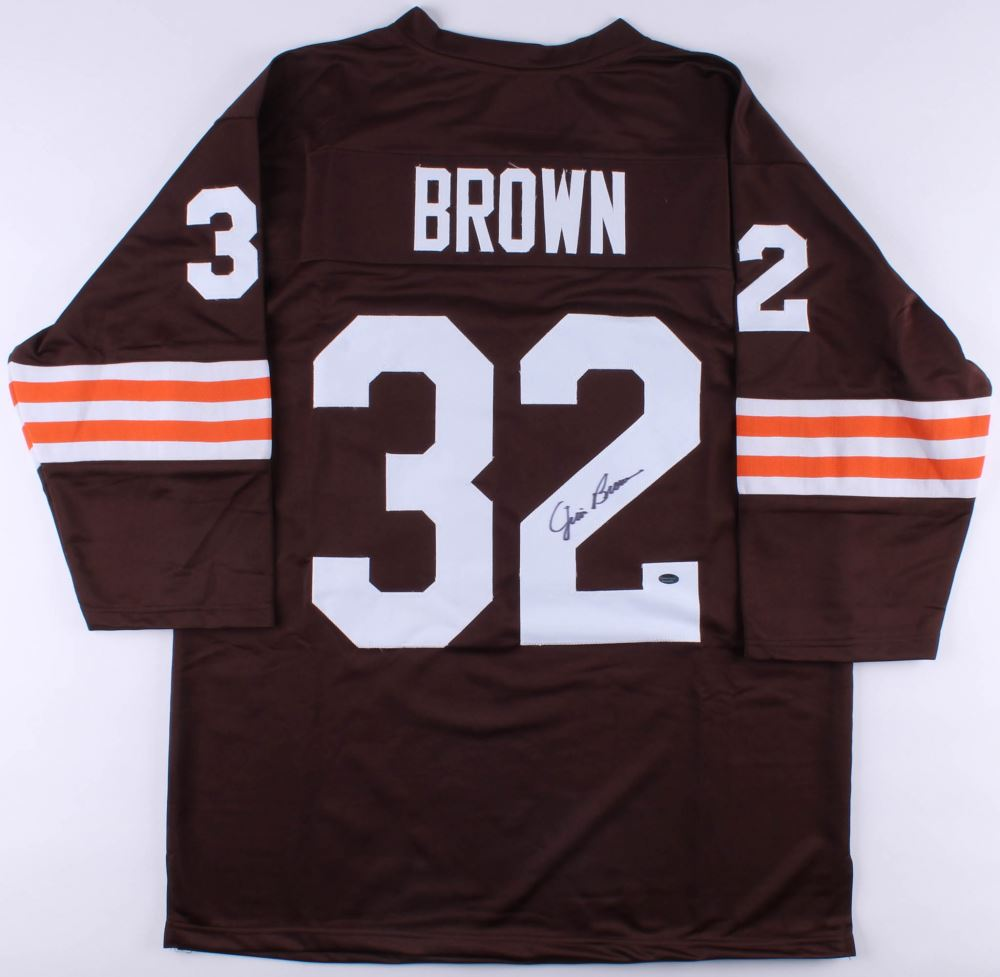 best sneakers aadad ece82 Jim Brown Signed Browns Jersey (Schwartz COA)