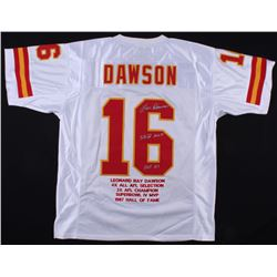 "Len Dawson Signed Chiefs Career Highlight Stat Jersey Inscribed ""SB IV MVP"" and ""HOF 87"" (Radtke COA"