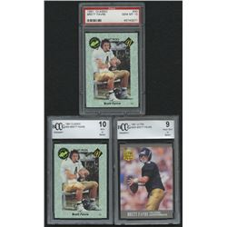Lot of (3) Graded Brett Favre Football Cards with 1991 Classic #30 (PSA 10), 1991 Classic #30 (BCCG