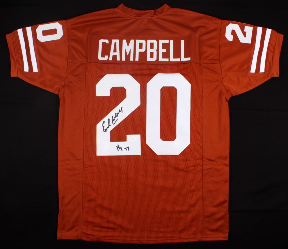 best service 2446b 95089 Earl Campbell Signed Texas Longhorns Jersey Inscribed