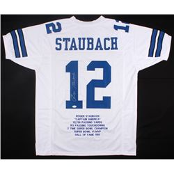 062402c46 Roger Staubach Signed Cowboys Career Highlight Stat Jersey (JSA COA)