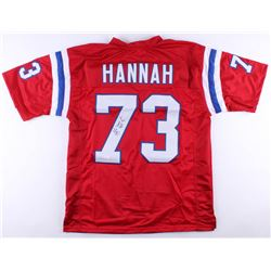 """John Hannah Signed Patriots Jersey Inscribed """"HOF 91"""" (JSA COA)"""