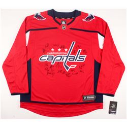 2017-18 Stanley Cup Champion Capitals Jersey Team-Signed by (21) with Alex Ovechkin, T.J. Oshie, Nic