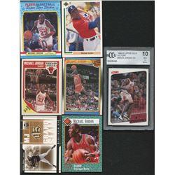 Lot of (7) Michael Jordan Assorted Sports Cards with 1991 Upper Deck #SP1  SP, 1988-89 Fleer #120 AS