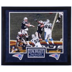"Tom Brady Signed LE Patriots 22x26 Custom Framed Photo Display Inscribed ""Game Over"" with (2) Patrio"