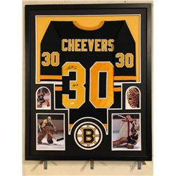 "Gerry Cheevers Signed Bruins 34x42 Custom Framed Jersey Inscribed ""HOF 85"" (JSA COA)"