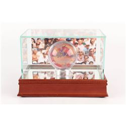"""Johnny Bench Signed Lead Crystal Baseball Inscribed """" HOF 89"""" with Photo Display Case Inscribed (JSA"""