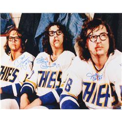 "Jeff Carlson, Steve Carlson  David Hanson Signed ""Slap Shot"" 16x20 Photo (Schwartz COA)"