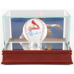 Ozzie Smith Signed Cardinals Logo OML Baseball with High Quality Photo Display Case (Beckett COA)
