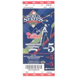 Cole Hamels Signed 2008 World Series Replica Ticket Display (PSA COA)