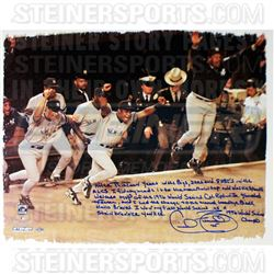 """Cecil Fielder Signed Yankees """"1996 World Series Win"""" 22x26 Canvas with Handwritten Story Inscription"""