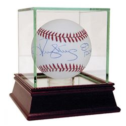 """Darryl Strawberry  Jacob deGrom Signed OML Baseball Inscribed """"83 ROY""""  """"2014 ROY"""" with Display Case"""