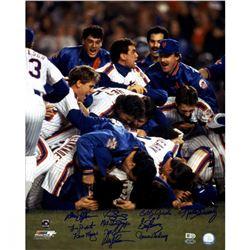 1986 New York Mets 16x20 Photo Team-Signed by (11) with Keith Hernandez, Darryl Strawberry, Davey Jo