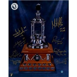 Vezina Trophy Winners 11x14 Photo Signed by (8) with Bernie Parent, Tony Esposito, Martin Brodeur, H