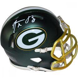 Aaron Rodgers Signed Packers Mini Blaze Helmet (Steiner COA)