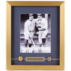 Babe Ruth  Lou Gehrig Yankees 14.5x17 Custom Framed Shadowbox Display with (2) Replica Rings