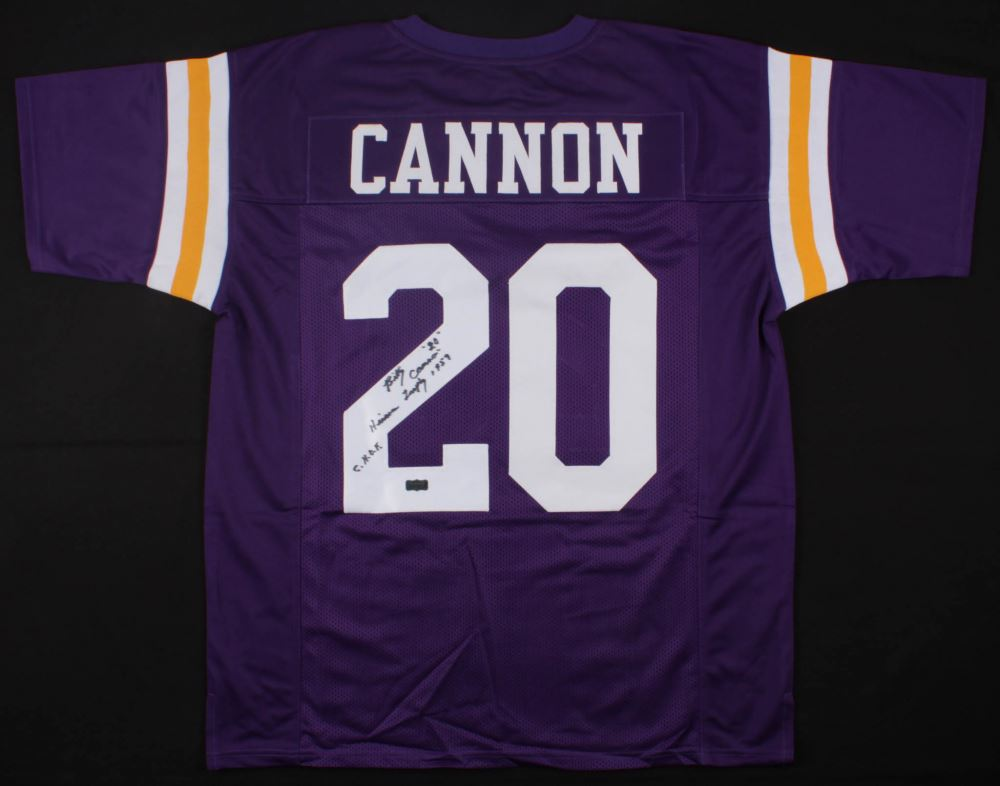 detailed look b15b4 c773e Billy Cannon Signed LSU Tigers Jersey Inscribed