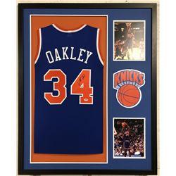 Charles Oakley Signed Knicks 34x42 Custom Framed Jersey (PSA COA)