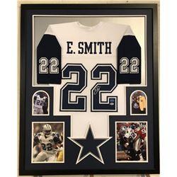 Emmitt Smith Signed Cowboys 34x42 Custom Framed Jersey (Beckett COA  Prova Hologram)