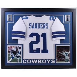 Deion Sanders Signed Cowboys 35x43 Custom Framed Jersey (Beckett Hologram)