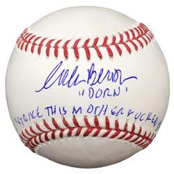 """Corbin Bernsen Signed OML Baseball Inscribed """"Dorn""""  """"Strike This Mother F***er Out!"""" with Case (JSA"""