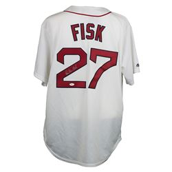 Carlton Fisk Signed Red Sox Throwback Jersey (JSA COA)