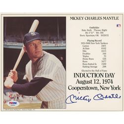 Mickey Mantle Signed Yankees Career Highlight Stat Card (PSA LOA)