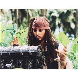 "Johnny Depp Signed ""Pirates of the Caribbean: Dead Man's Chest"" 11x14 Photo (PSA COA)"