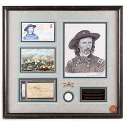 George Armstrong Custer Signed LE 22.75x24.25 Custom Framed Envelope Display with Print  Coin (PSA E