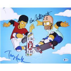 """Tony Hawk  Dan Castellaneta Signed """"The Simpons"""" 11x14 Photo (Beckett COA)"""