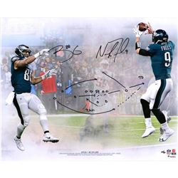 """Nick Foles  Trey Burton Signed """"Philly Special"""" 16x20 Limited Edition Photo With Hand-Drawn Play (Fa"""