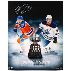 """Connor McDavid Signed Oilers """"Back to Back Art Ross Trophy Winner"""" 16x20 Limited Edition Photo Inscr"""