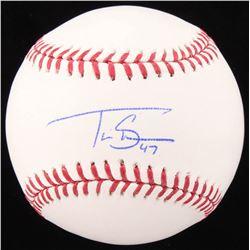 Travis Shaw Signed OML Baseball (JSA COA)