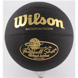 "Vintage Michael Jordan Commemorative ""Farewell Shot"" Black Leather Basketball"
