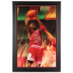 Michael Jordan Signed Bulls 27x39 Custom Framed Poster Display (JSA LOA)