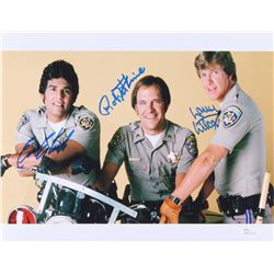 "Erik Estrada, Larry Wilcox  Robert Pine Signed ""CHiPs"" 11x14 Photo (JSA COA)"