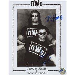 "Kevin Nash  Scott Hall Signed WWE ""New World Order"" 8x10 Photo (Pro Player Hologram)"