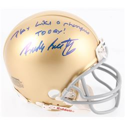 "Rudy Ruettiger Signed Notre Dame Fighting Irish Mini-Helmet Inscribed ""Play Like A Champion Today!"""